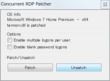 Concurrent_RDP_Patcherの設定画面