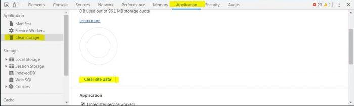 検証パネルでサイトごとのキャッシュを削除